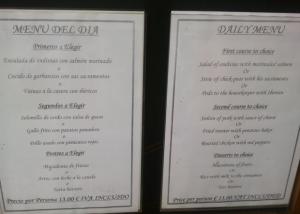 Traducción carta de menú